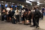 long crowds at an airport terminal