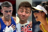 Harry Garside, Tom Daley and Mariafe Artacho del Solar in Tokyo for the OlympicGames
