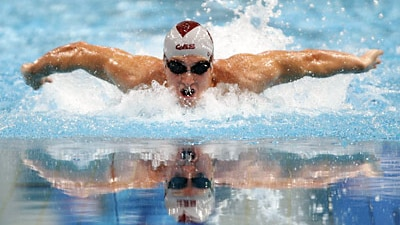 Nick D'Arcy powers his way to victory in the 200m butterfly at the Australian Championships in Sydney on March 25, 2008. (Get...