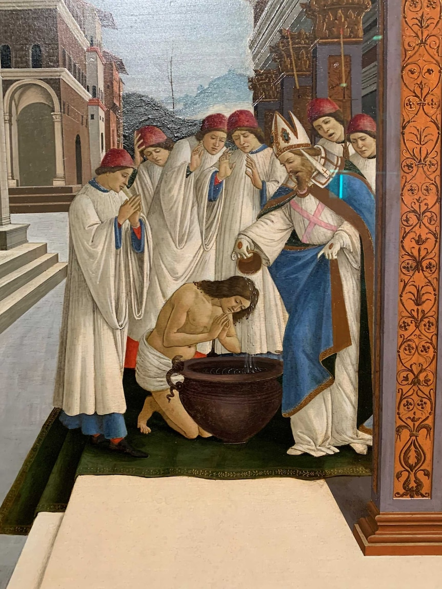 The painting shows a group of religious figures blessing someone with water over a large urn.