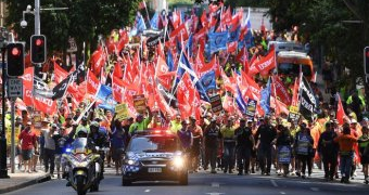 Workers marching in Brisbane