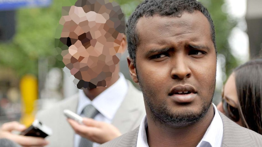 Yacqub Khayre grimaces as he leaves court in Melbourne.