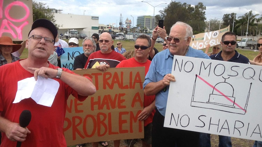 Protesters against a mosque on Queensland's Sunshine Coast.