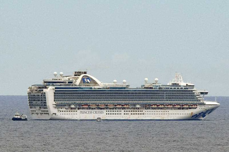 A cruise ship out at sea.