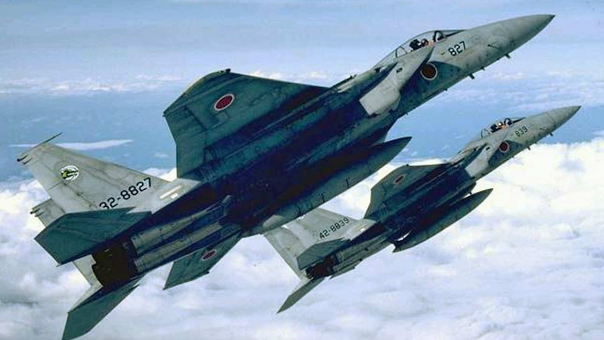 Japanese fighter jets in formation