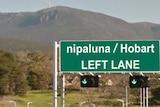 What a 'nipaluna - Hobart' sign might look like on the Tasman Bridge.