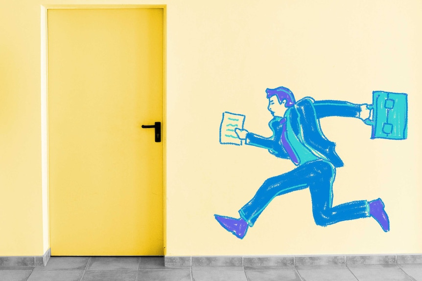 Drawing of a man in a business suit running towards a door to depict the quandary of whether to leave work on time.