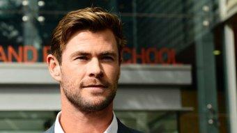 Actor Chris Hemsworth looks ahead.