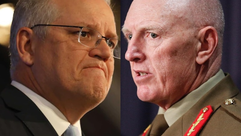 A composite image of Scott Morrison and General JJ Frewen.