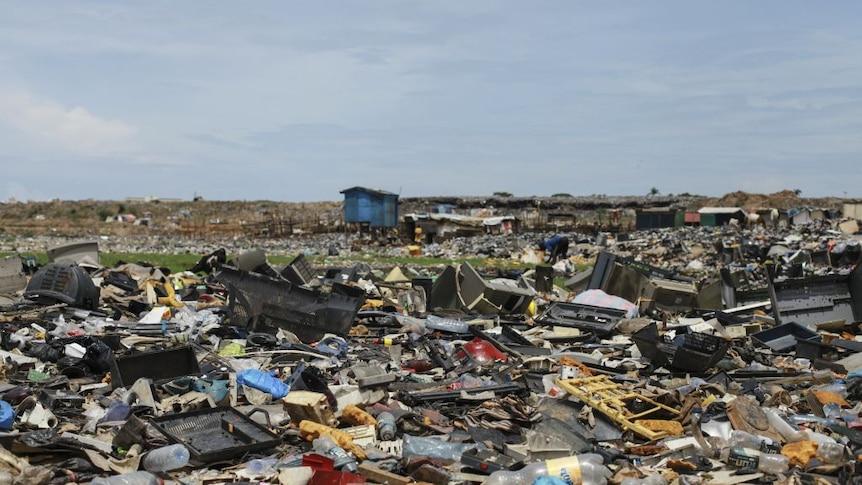 A field full of e-waste.