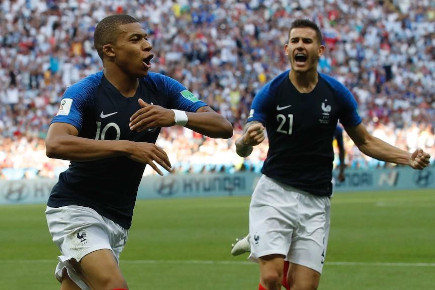 Kylian Mbappe celebrates goal for France against Argentina