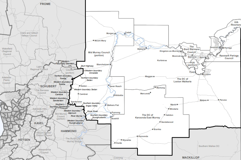 Map of towns in the newly expanded Chaffey electorate in South Australia
