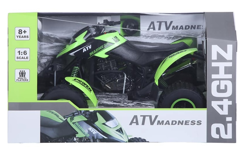 A green remote controlled quad bike toy in packaging.