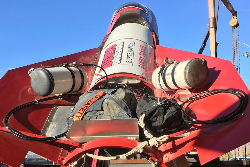 Close up view of a large red rocket