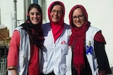 Lisa Altmann (L) with two MSF work colleagues in Afghanistan.