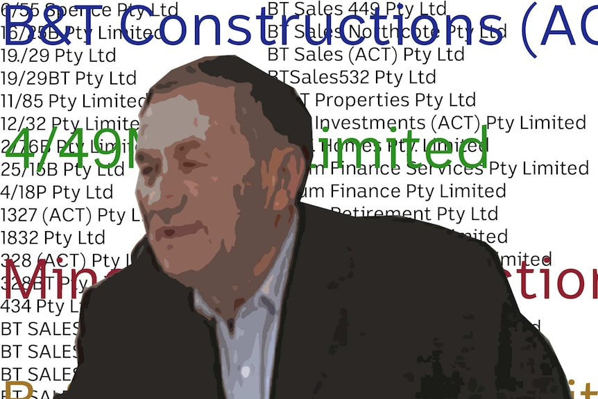 Ivan Bulum with the names of his different companies in the background.
