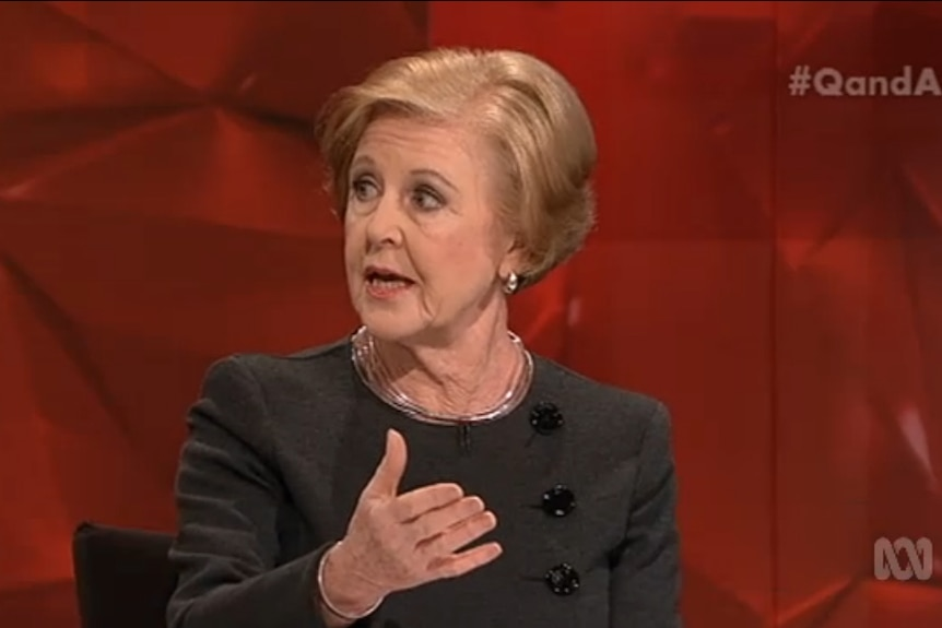 Gillian Triggs gestures while talking