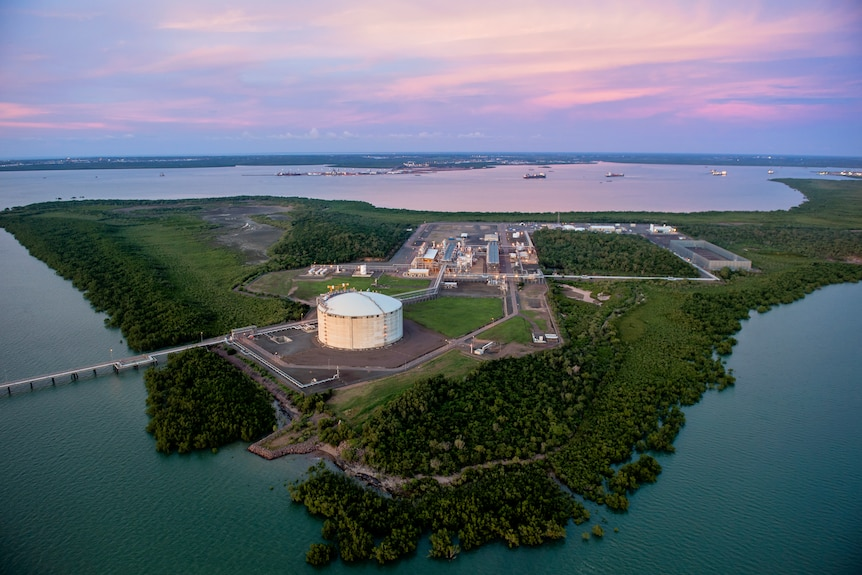 Santos's Darwin LNG plant is seen from overhead at dusk.