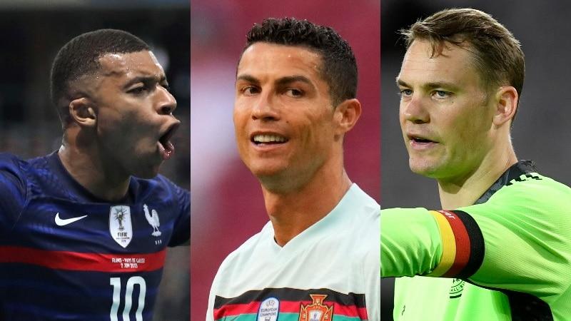 A composite photo of Kylian Mbappe, Cristiano Ronaldo and Manuel Neuer