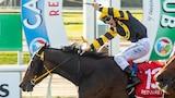 Jockey celebrating as horse crosses the line first