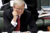 Prime Minister Kevin Rudd speaks to (then) opposition leader Malcolm Turnbull