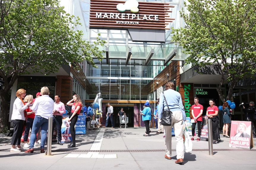 Party volunteers outside a shopping centre.