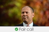 A middle-aged balding man in a business suit in an autumn scene and the words 'fair call'.