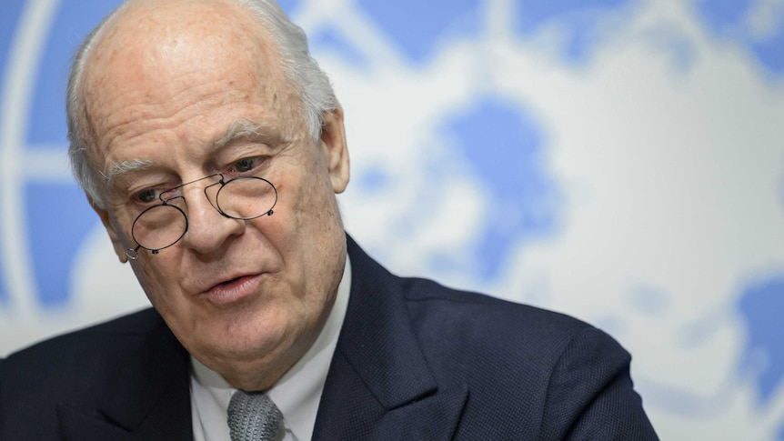 UN Syria envoy Staffan De Mistura speaks at the United Nations Offices.