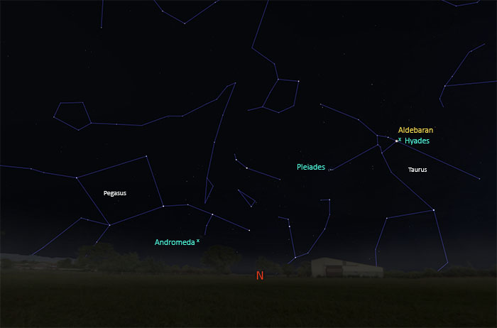 Map of sky showing Andromeda and Taurus