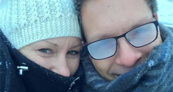 Justine and Don Damond smile in the snow.