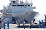 Medical staff in scrubs standing on the dock in front of a huge cruise ship
