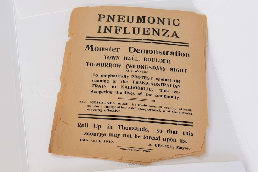 Pneumonic influenza leaflet from 1919 advertising a  'Monster Demonstration' to be held at the Boulder Town Hall