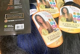 Close up image of 'innocence' branded hair weaves.