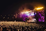 Wide shot of Haydne James playing to a big crowd at Splendour in the Grass 2019