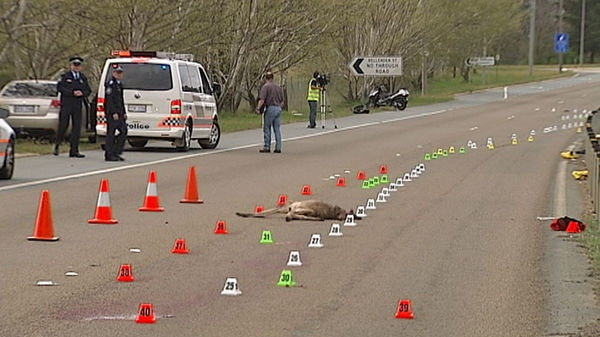 Police examine the scene of the fatal accident on the Barton Highway.