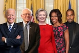 A graphic shows Joe Biden, Bernie Sanders, Hillary Clinton, Michelle Obama and Kayne West standing together.
