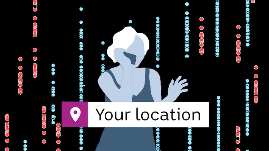 Promotional image of a lady talking on the phone and a location search box