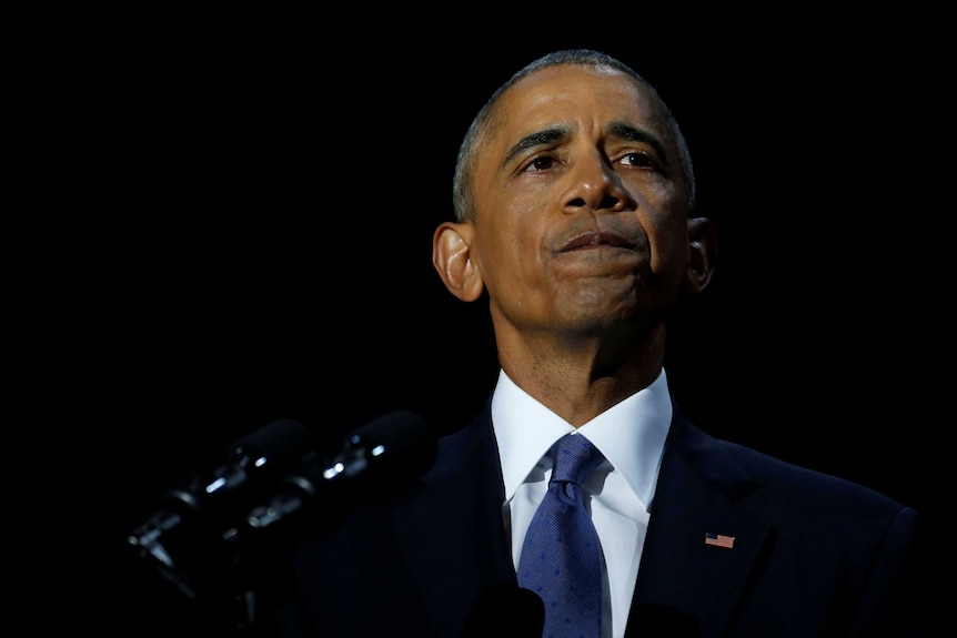 US President Barack Obama staves off tears as he delivers his farewell address.