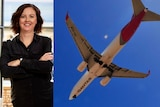 Ann-Catherine Jones and Qantas plane composite image.
