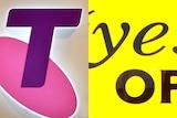 Telstra and Optus logos