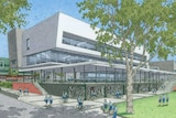 An artist's impression of the north side of the planned Inner City College in Subiaco, showing a multi-storey grey building.