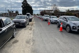 A line of cars