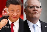 A composite image of Xi Jinping and Scott Morrison