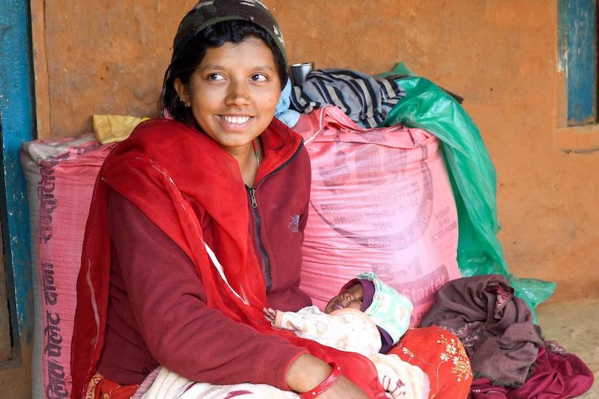Bhotechaur local Sabitri Thapa with her newborn baby