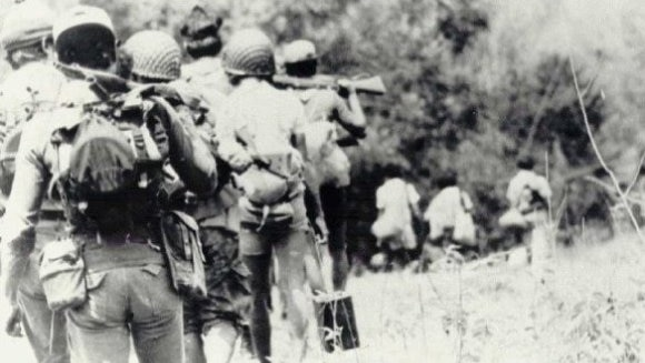 Indonesian troops on the march in East Timor, 1975