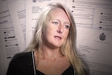 An image of former barrister and police informer Nicola Gobbo in front of an arrangement of documents.