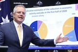 A man in a blue suit and yellow tie stands in front of a pie graph about jobs and economic growth.