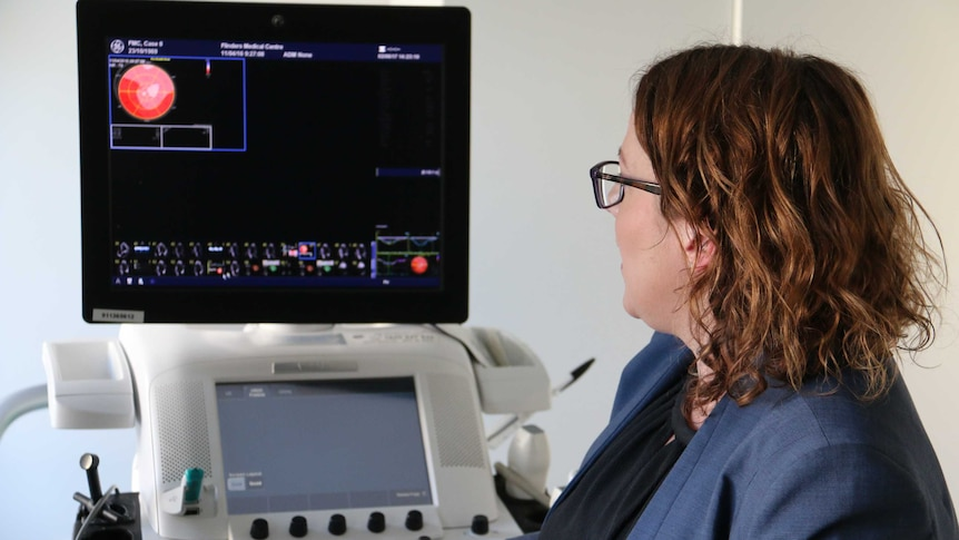 A doctor looks at a screen that shows images of scarring on hearts