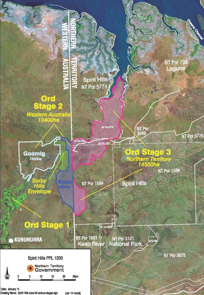 A map of the Ord Irrigation Scheme.