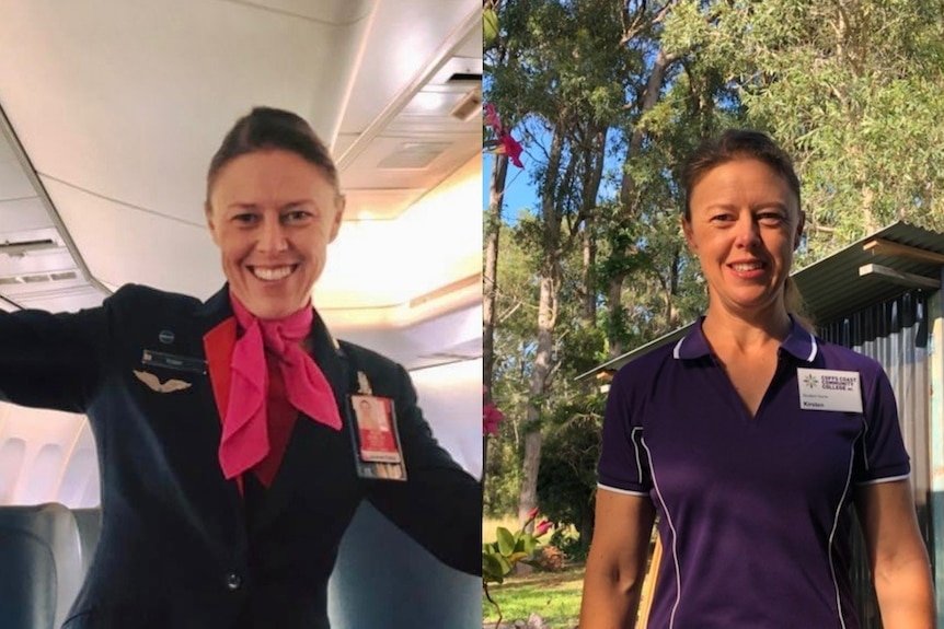 A before and after pic of a woman in different work uniforms.
